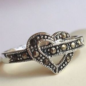 Sterling Silver Marcasite Heart Ring Size 6 8 9